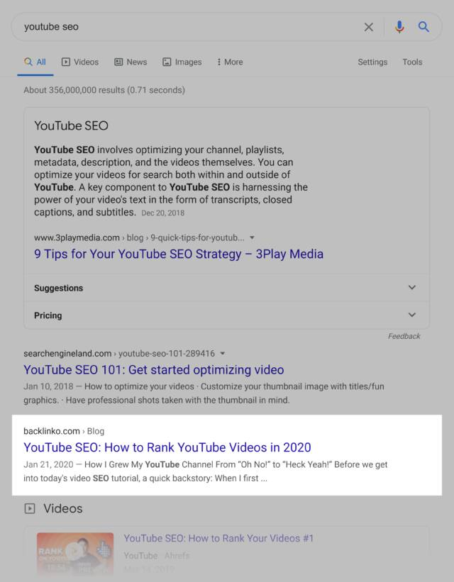 google serp-youtube seo